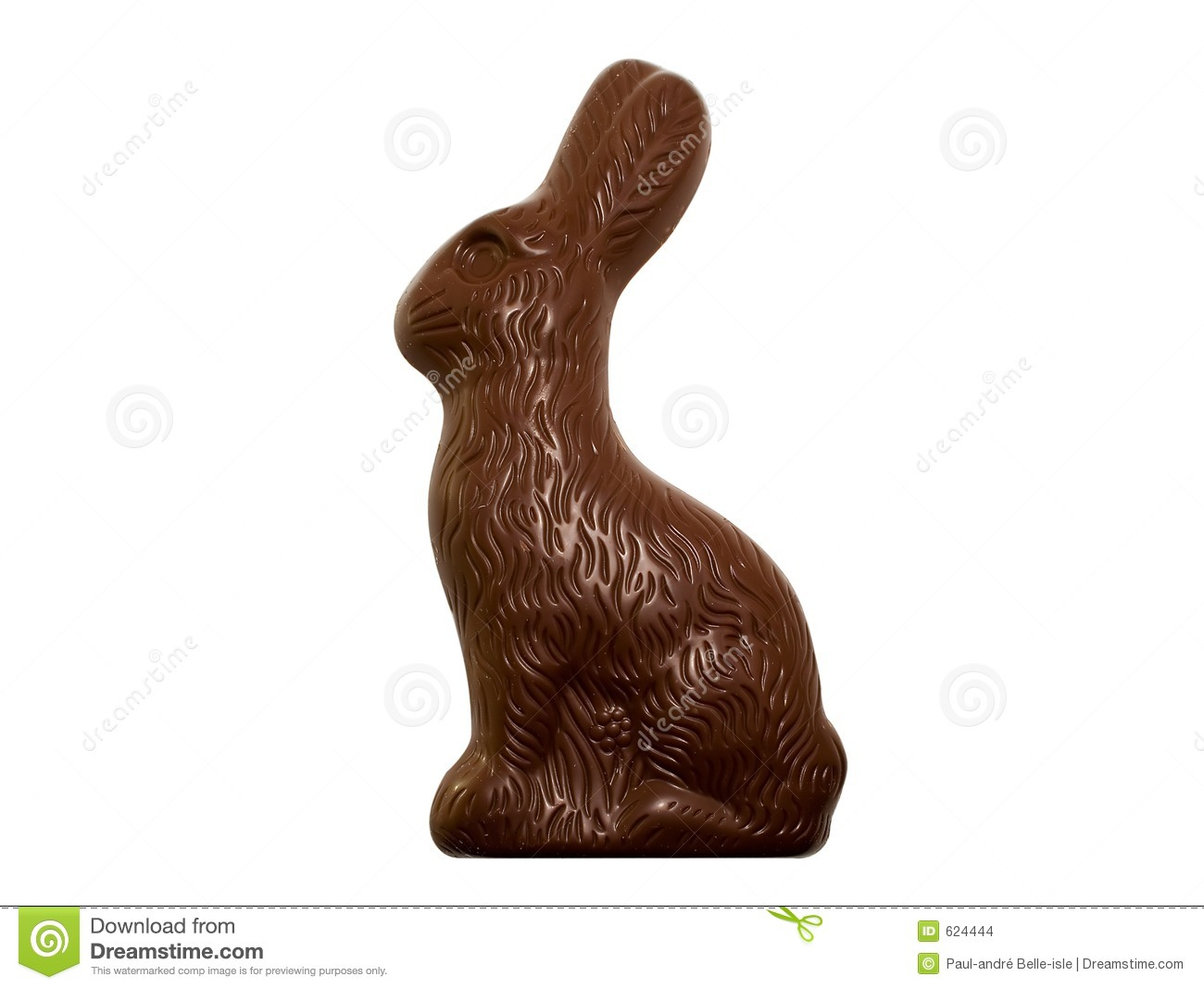 Chocolate Easter Bunny isolated on white background (clipping path ...
