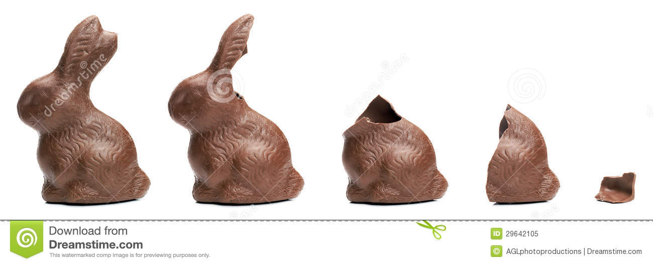 Chocolate Easter Bunny eating sequence