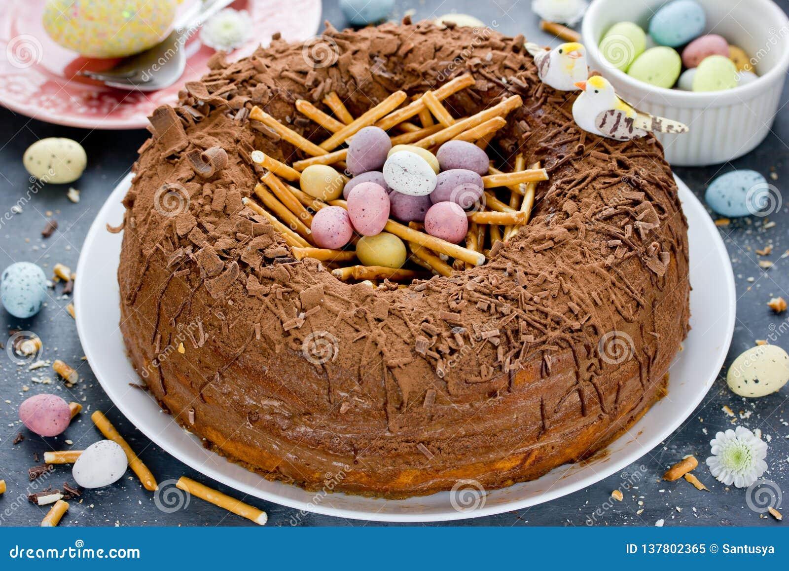 Easter Egg Nest Cake Stock Image Image Of Brunch Frosting 137802365