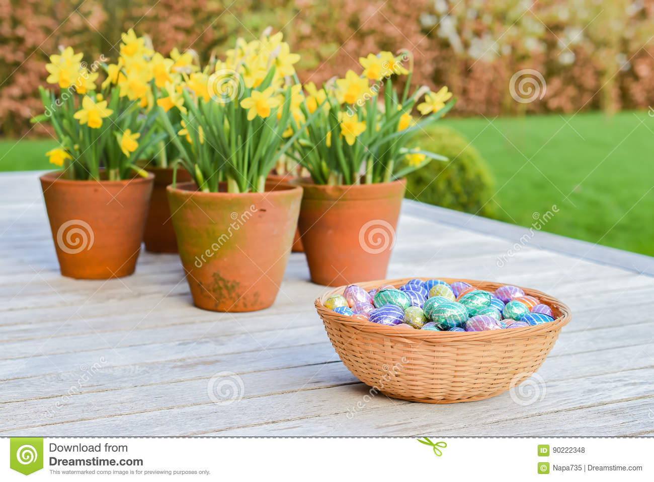 193 & Chocolate Easter Eggs And Narcissus Stock Photo - Image of daffodils ...