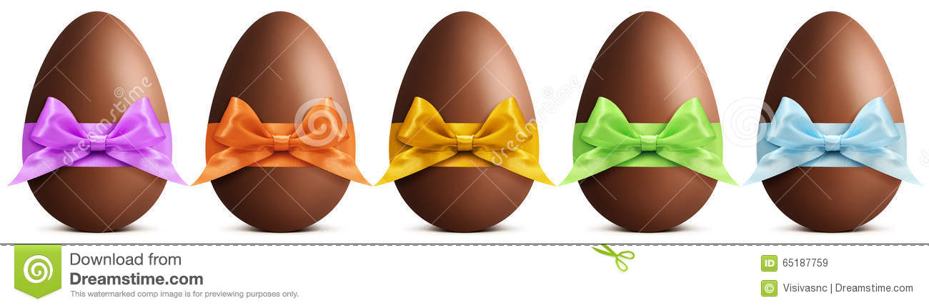 Chocolate easter eggs with ribbon Bow on white background