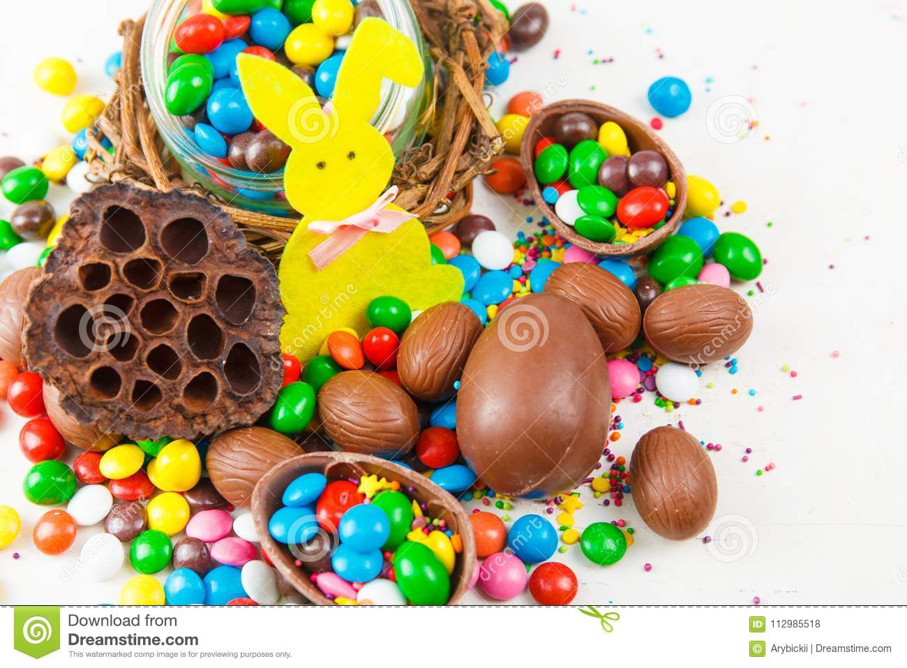 Chocolate eggs and color candy glaze