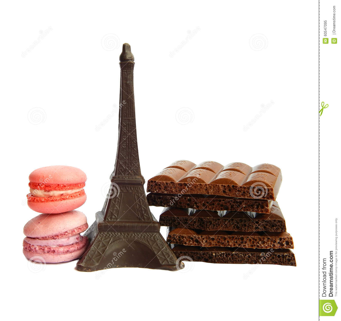 Chocolate Eiffel Tower Two Macarons And Broken Milk And