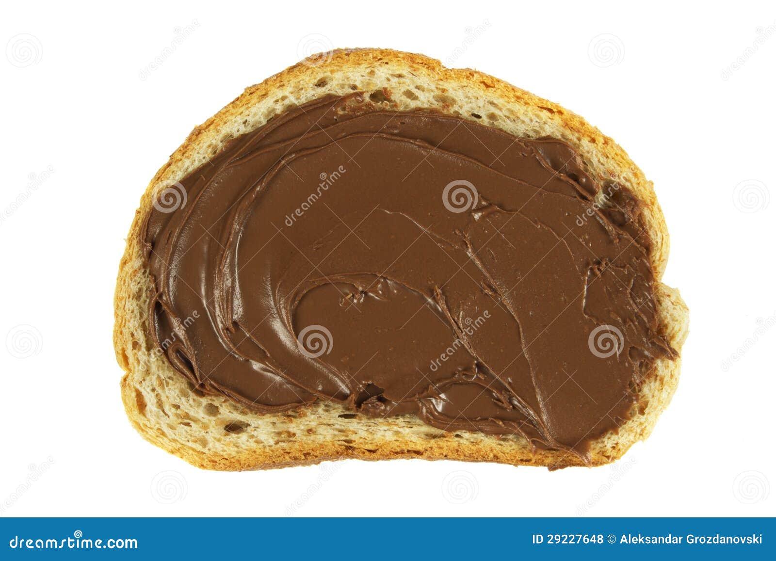 Download Chocolate Espalhado Em Uma Fatia De Pão Foto de Stock - Imagem de estúdio, chocolate: 29227648