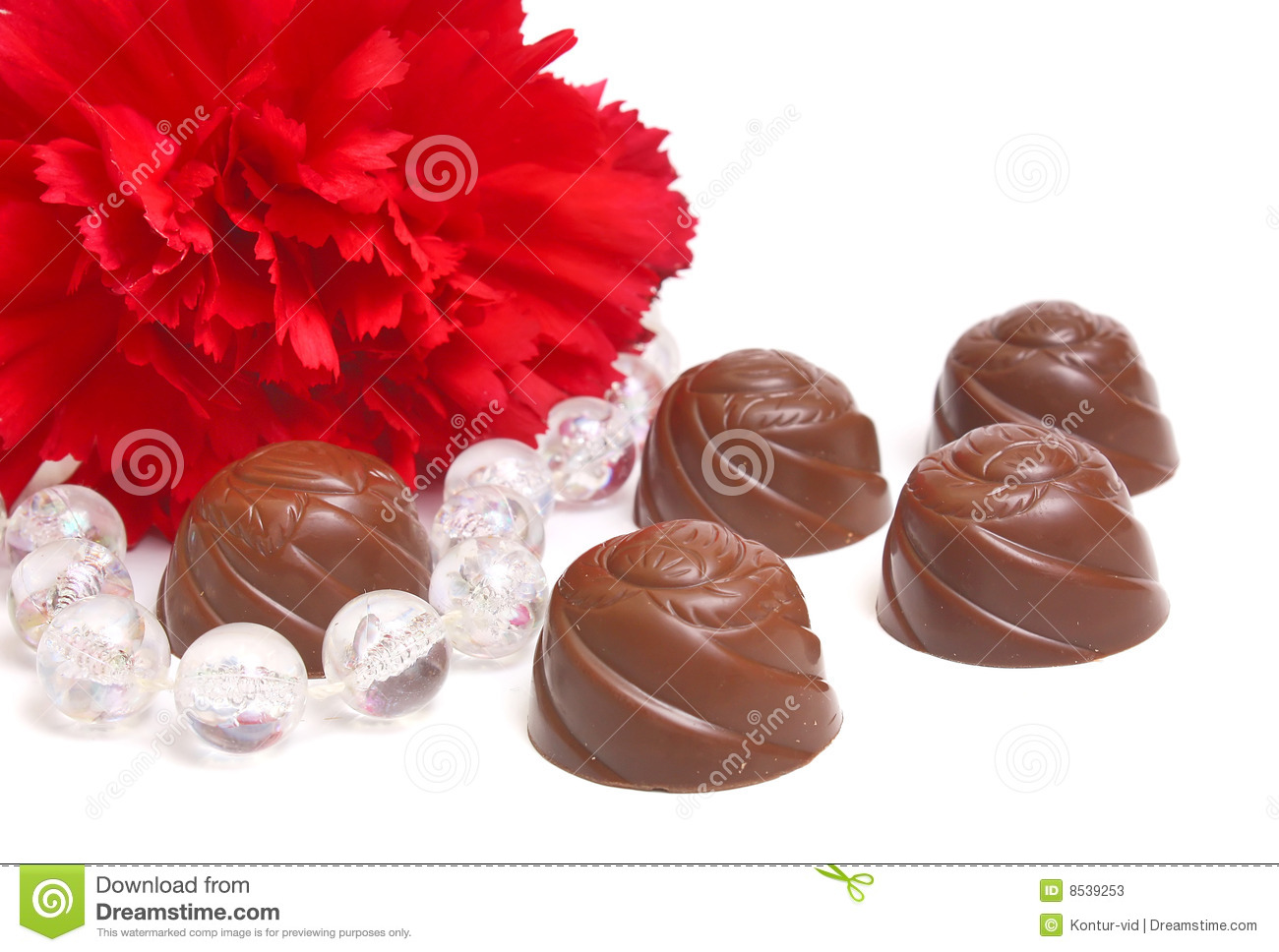 Chocolate And Flower Stock s Image