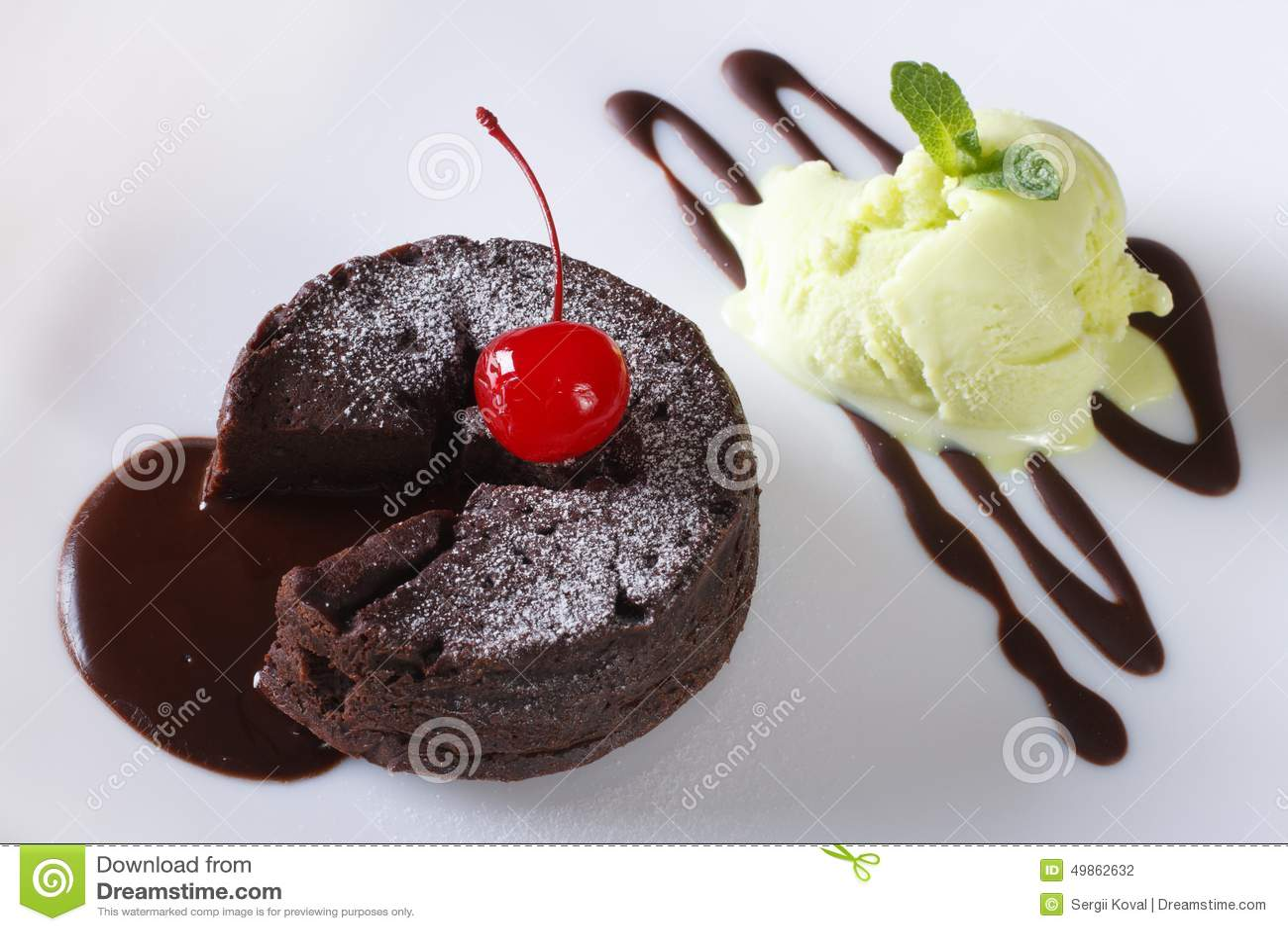 Chocolate Fondant And Ice Cream Stock Photo - Image: 81675253