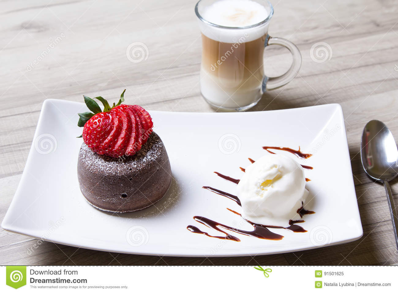 Chocolate Fondant Lava Cake With Strawberries And Ice