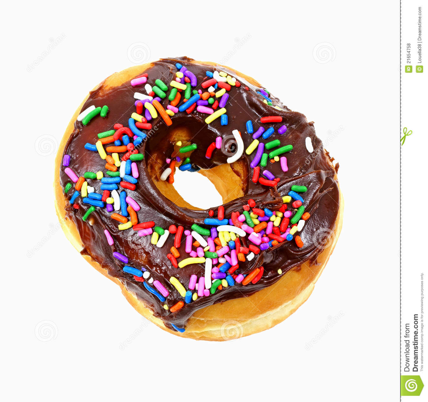 Chocolate Frosted Donut Sprinkles Overhead View Stock