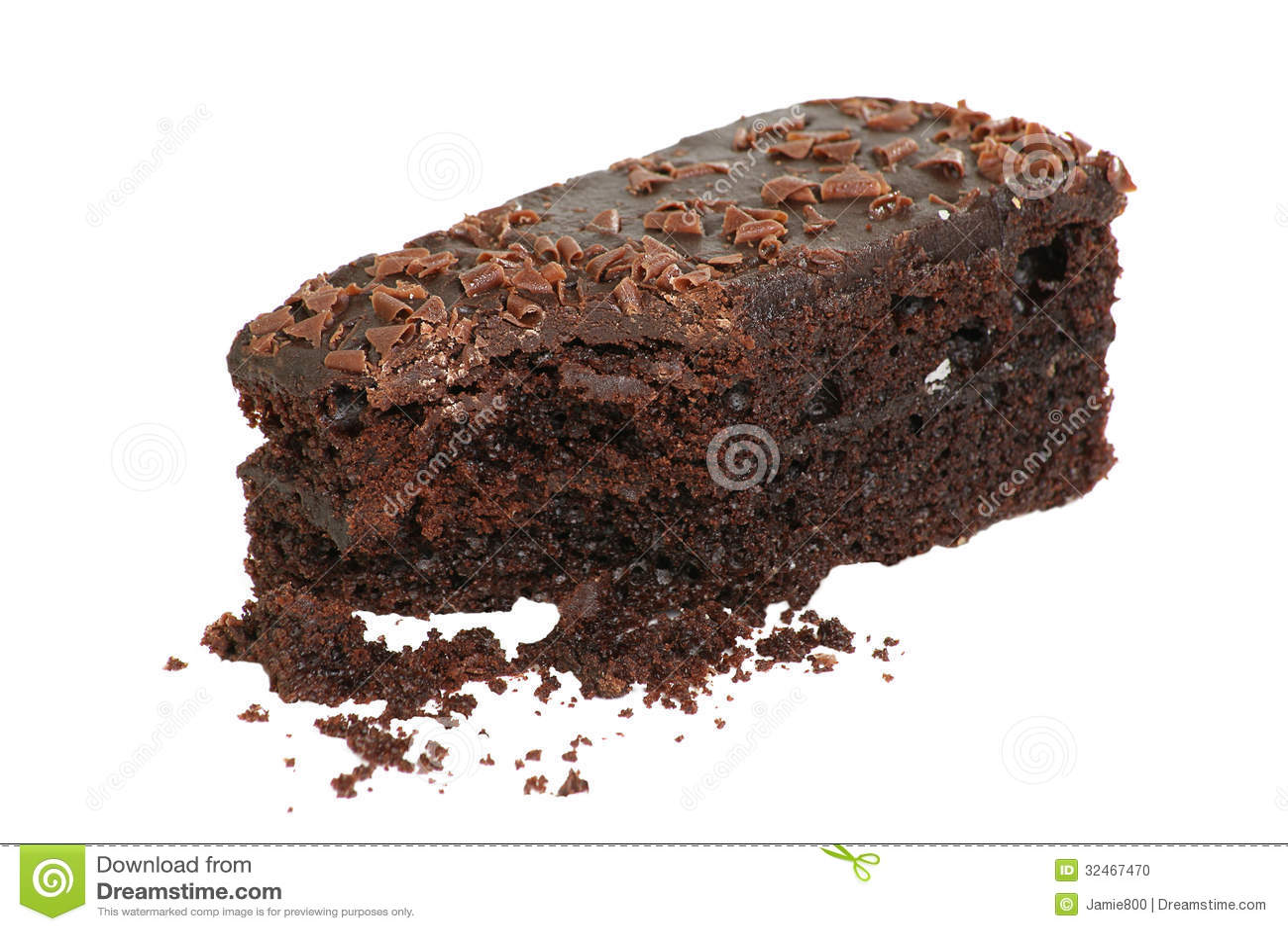Fudge Cake Slice White Background