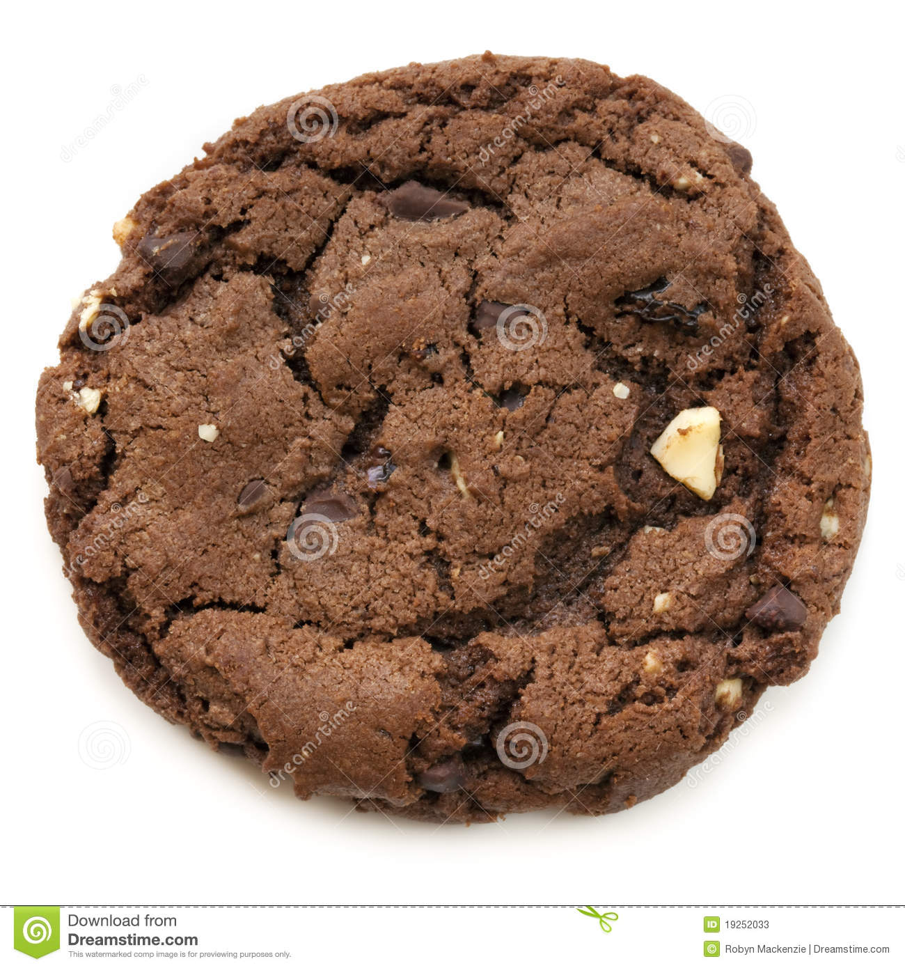Large chocolate fudge cookie, isolated on white. Overhead view.