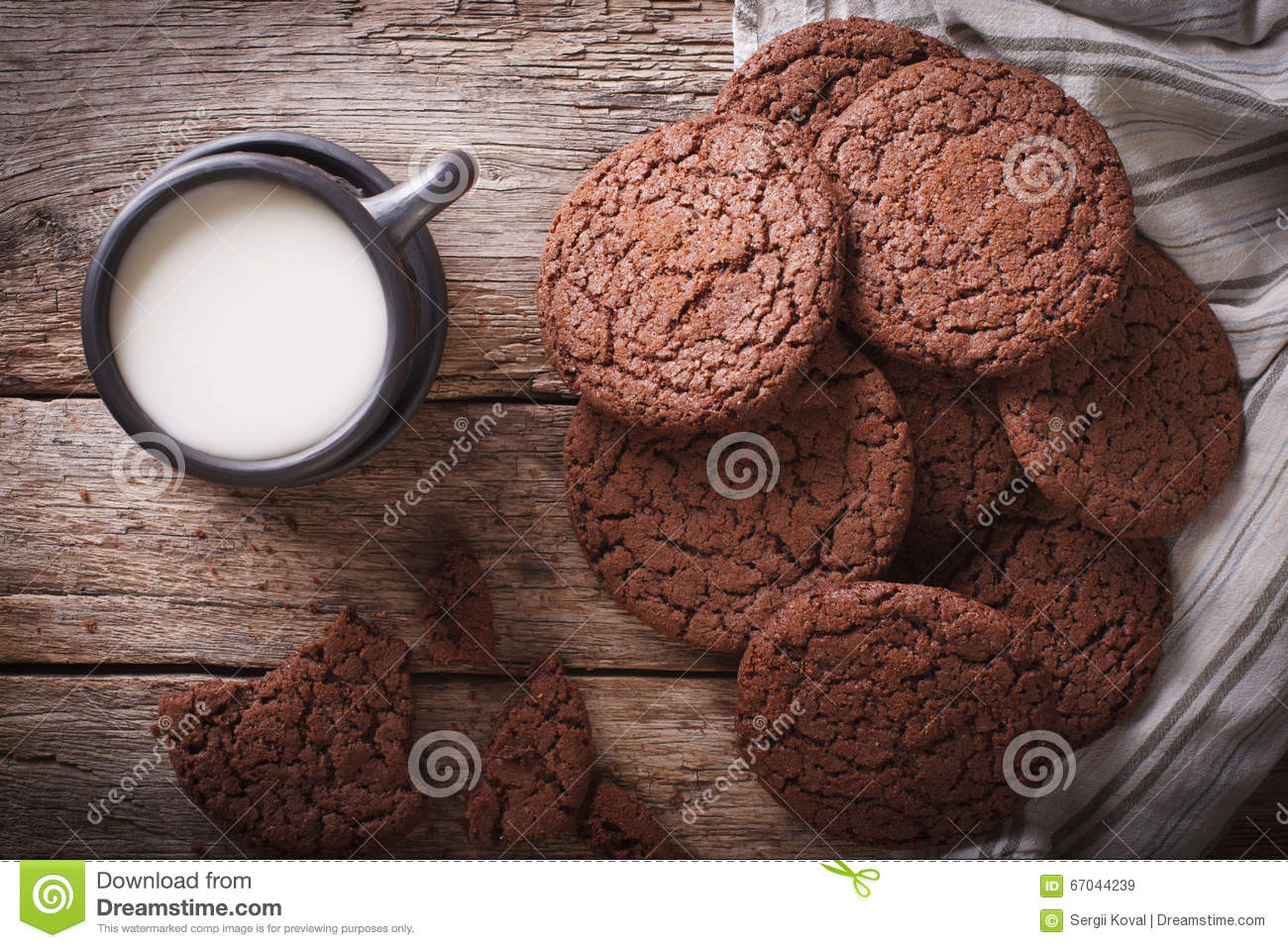 Chocolate Ginger Cookies And Milk Close-up. Horizontal Top View Stock ...