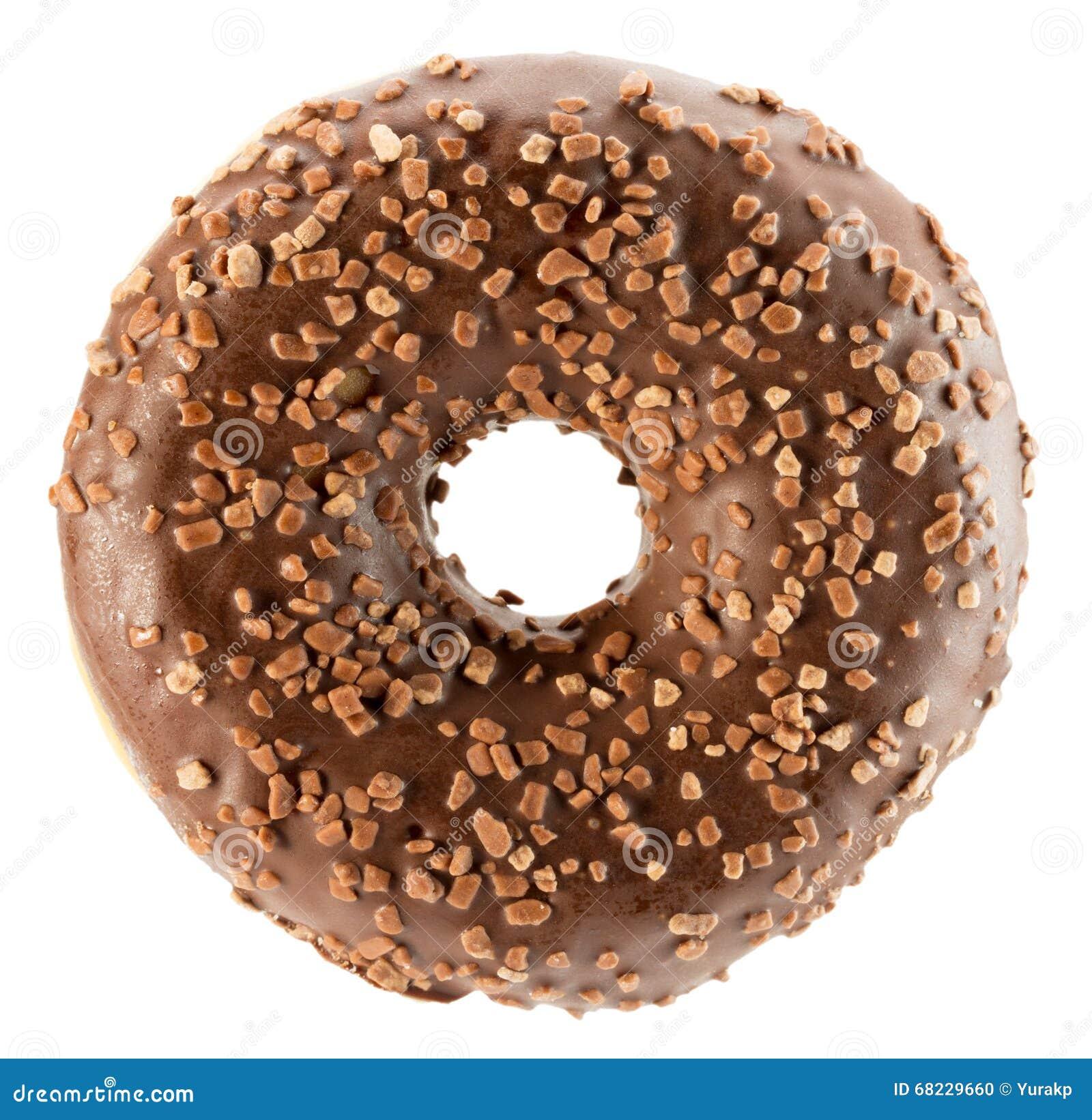 Chocolate Glazed Donut Isolated On White Background Stock Photo ...