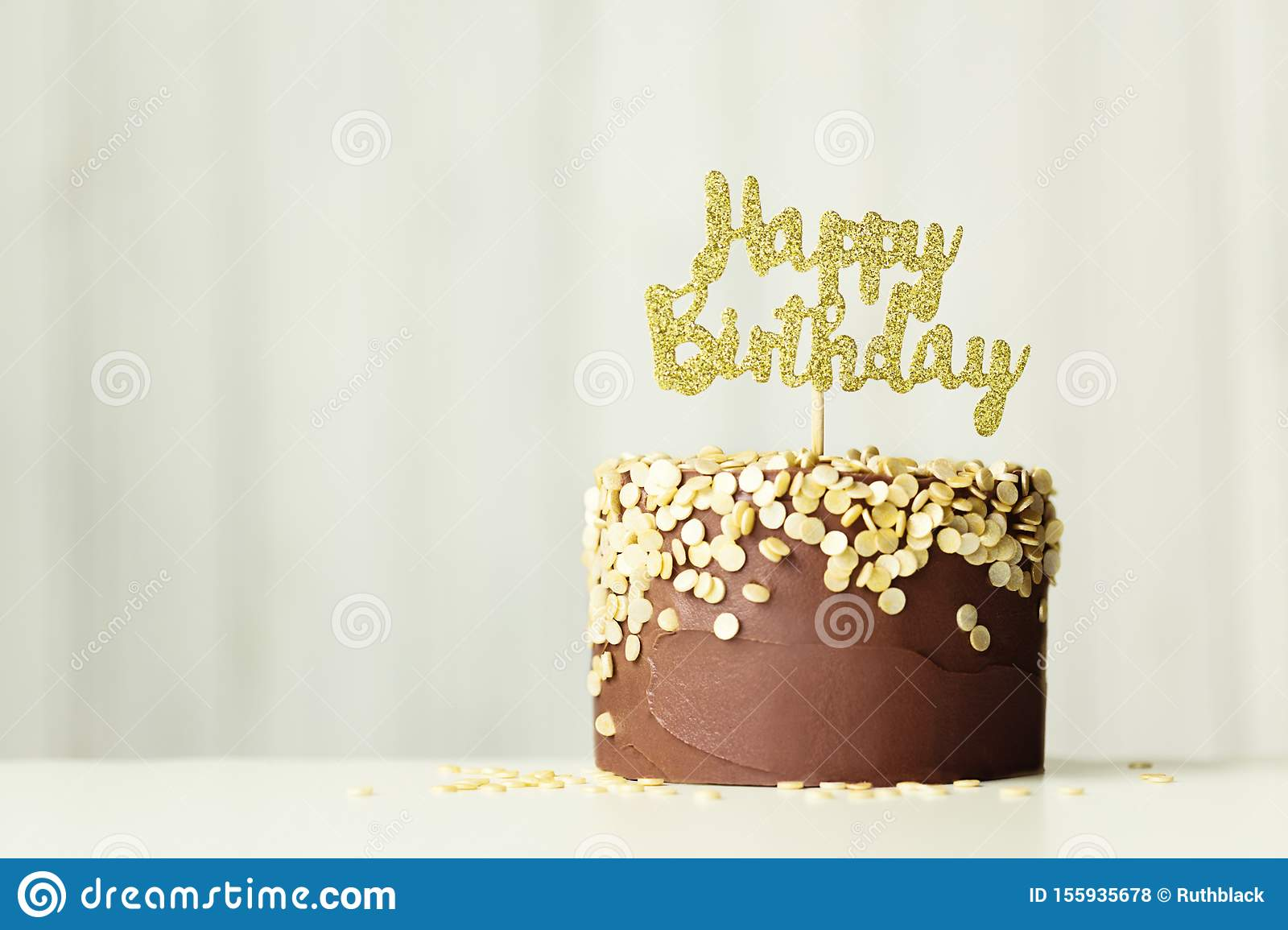 Peachy Chocolate And Gold Birthday Cake Stock Photo Image Of Horizontal Funny Birthday Cards Online Alyptdamsfinfo