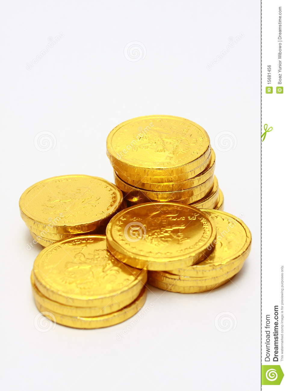 Chocolate Gold Coin Stacks Royalty Free Stock Image - Image: 15681456