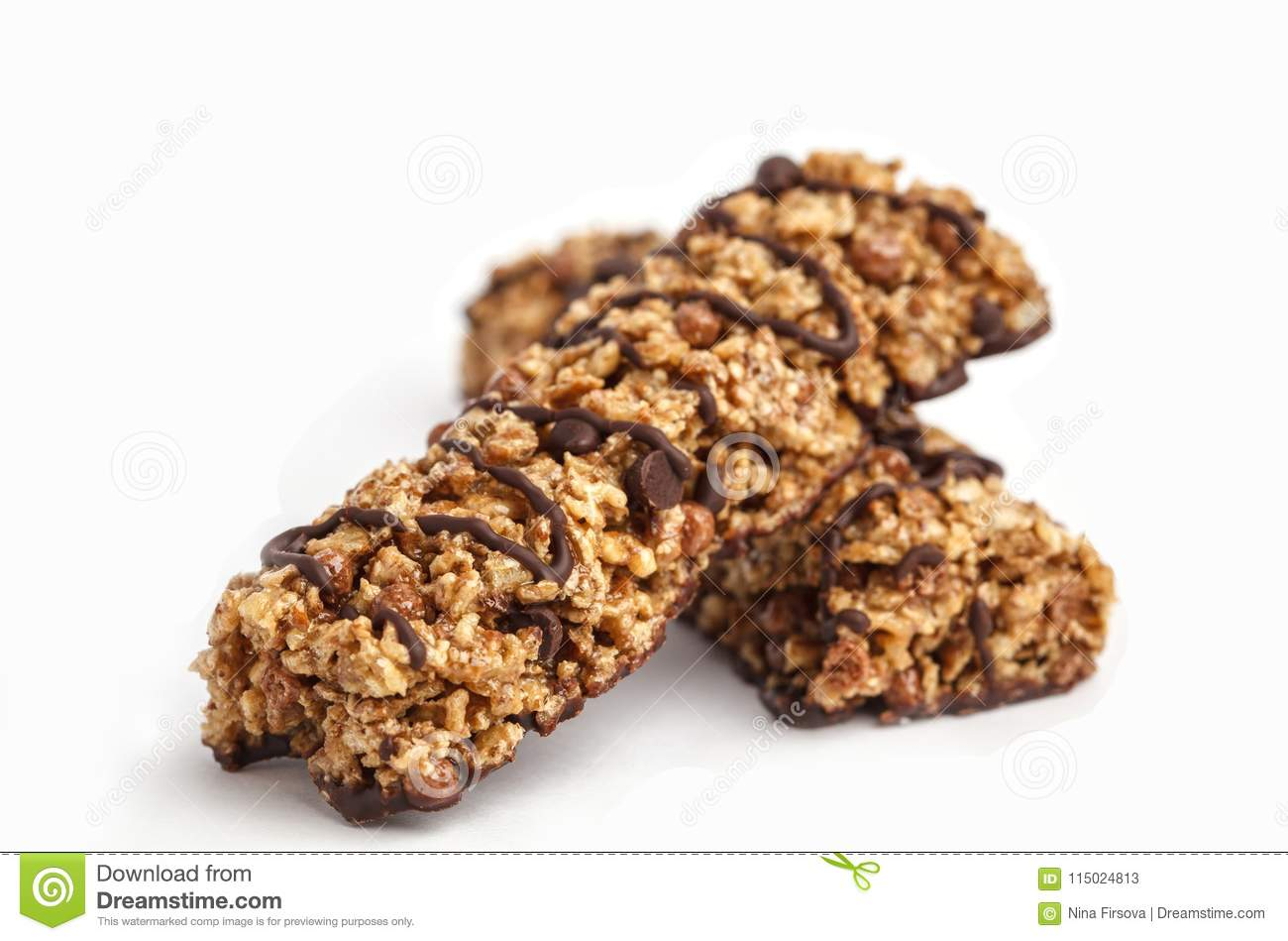 Chocolate Granola Bars Isolated On White Background  Healthy