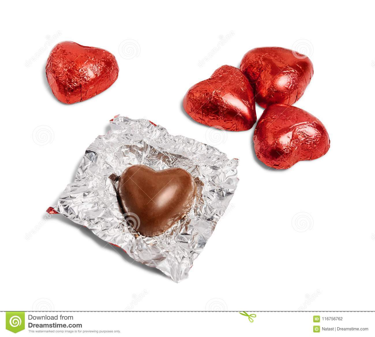 Chocolate hearts candies.