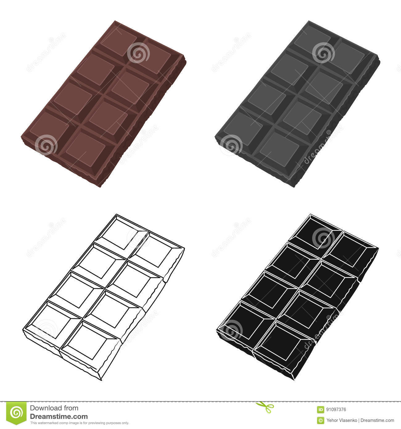 Chocolate icon in cartoon style isolated on white background. Chocolate desserts symbol stock vector illustration.
