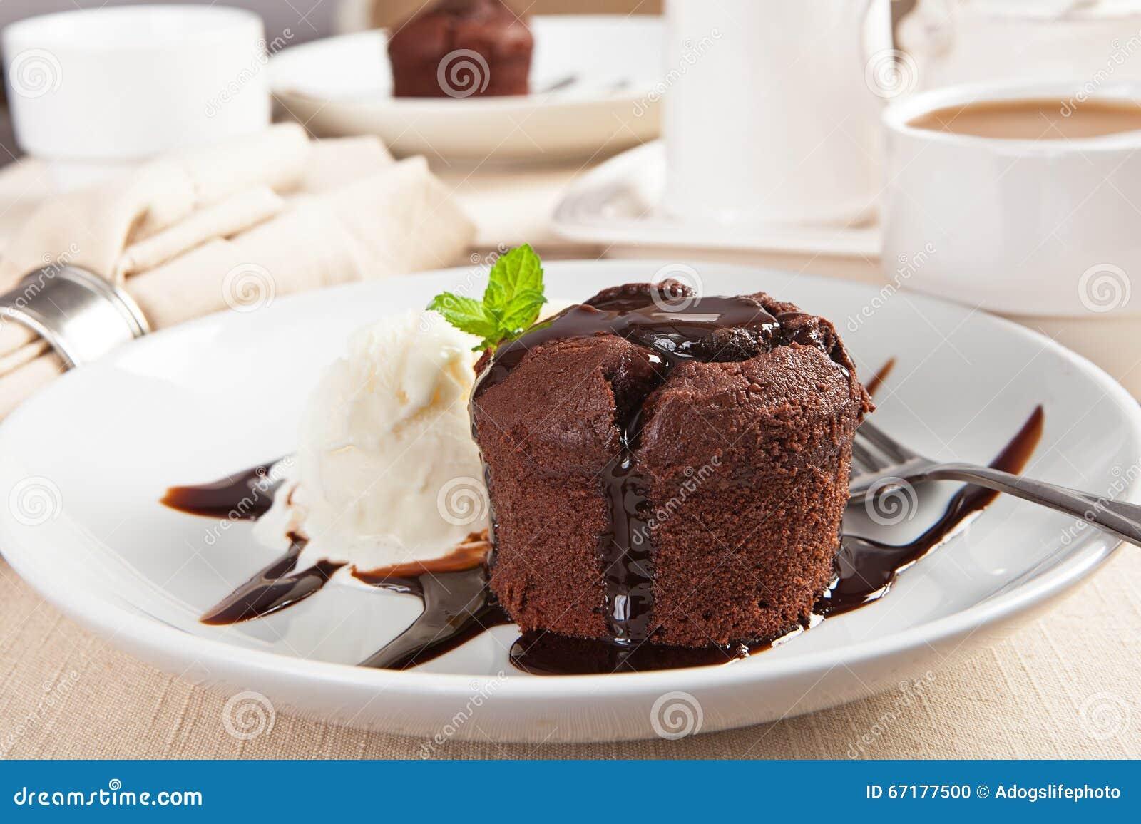 Chocolate Lava Cake With Ice Cream Stock Photo Image Of