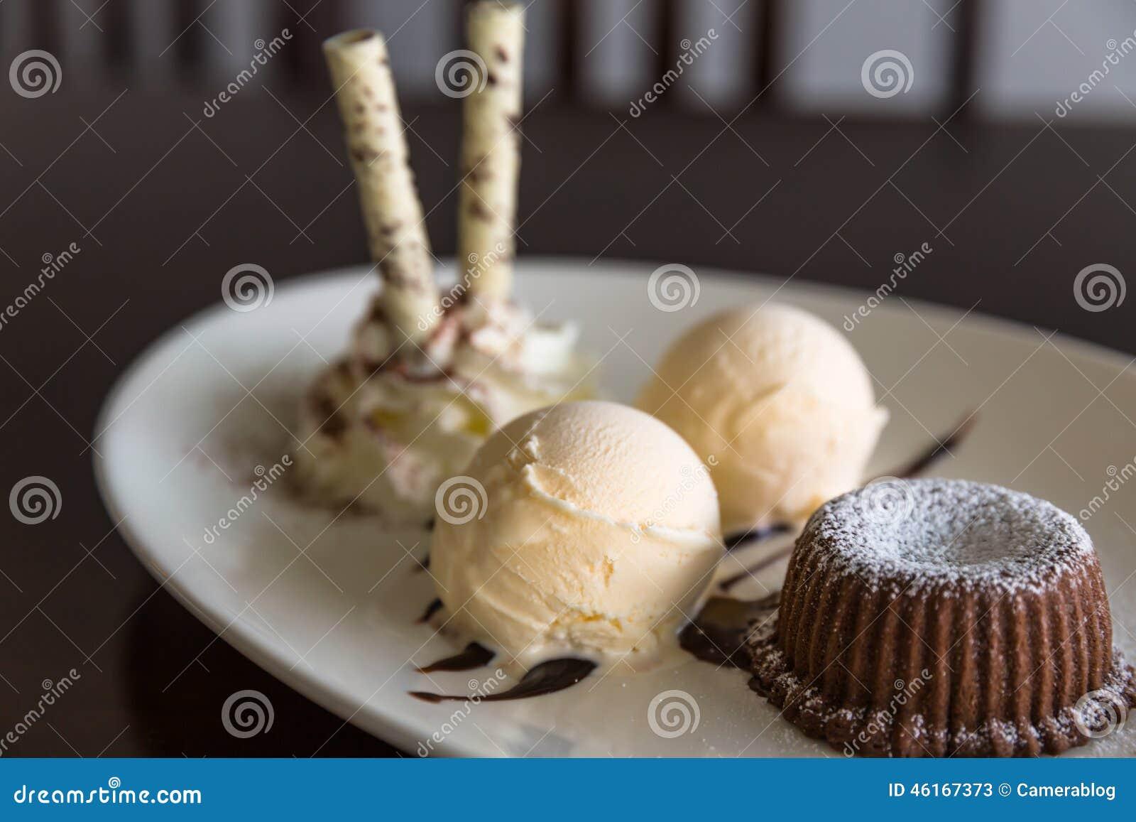 Chocolate Lava Cake With Cherry Sauce And Vanilla Ice Cream