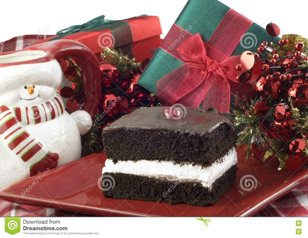Chocolate Cake Decorated For Christmas : Chocolate Layer Cake With Christmas Decorations Royalty ...