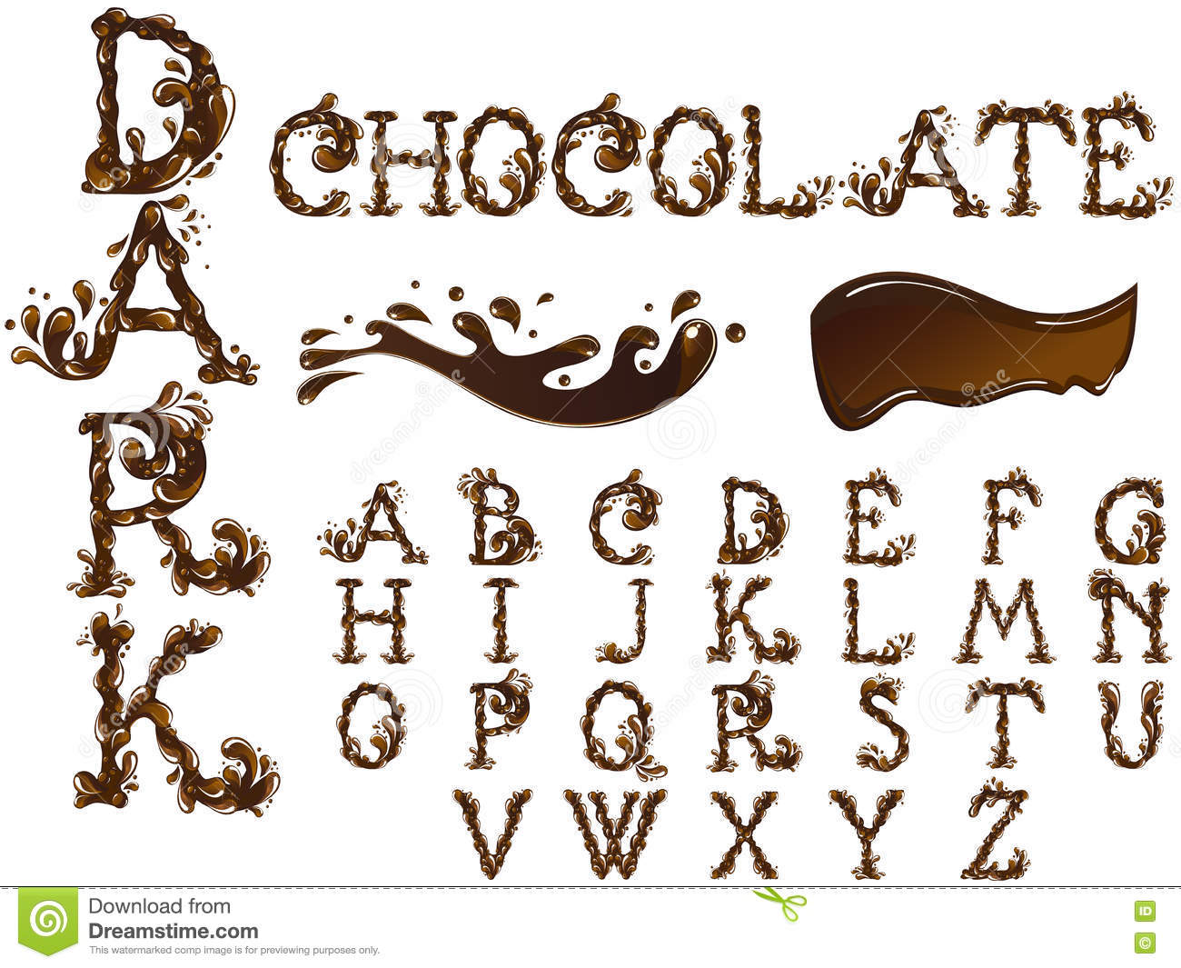 Chocolate Letters Font Stock Vector