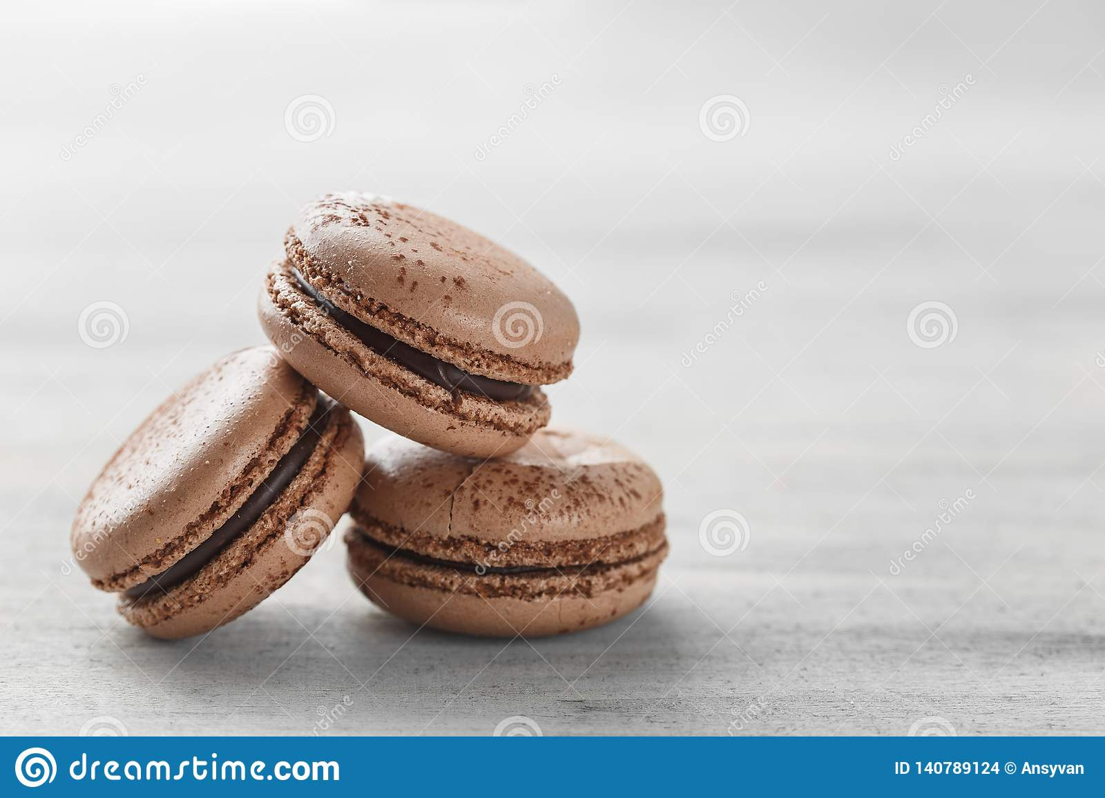 Chocolate Macarons Closeup, French Pastry Cookies