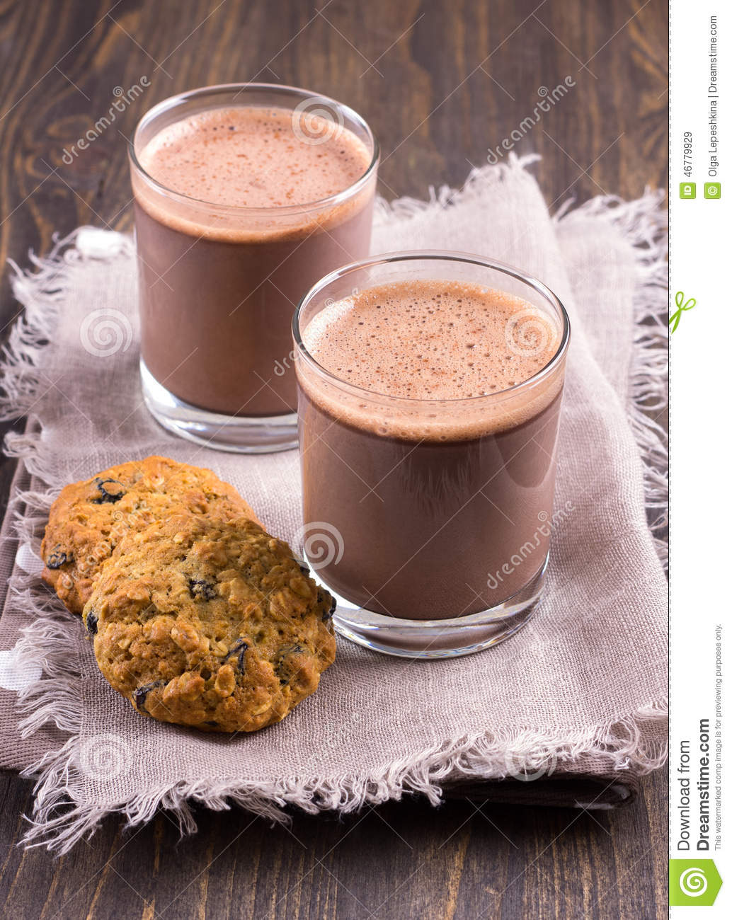 Chocolate Milk With Diet Oatmeal Cookies Stock Photo - Image: 46779929