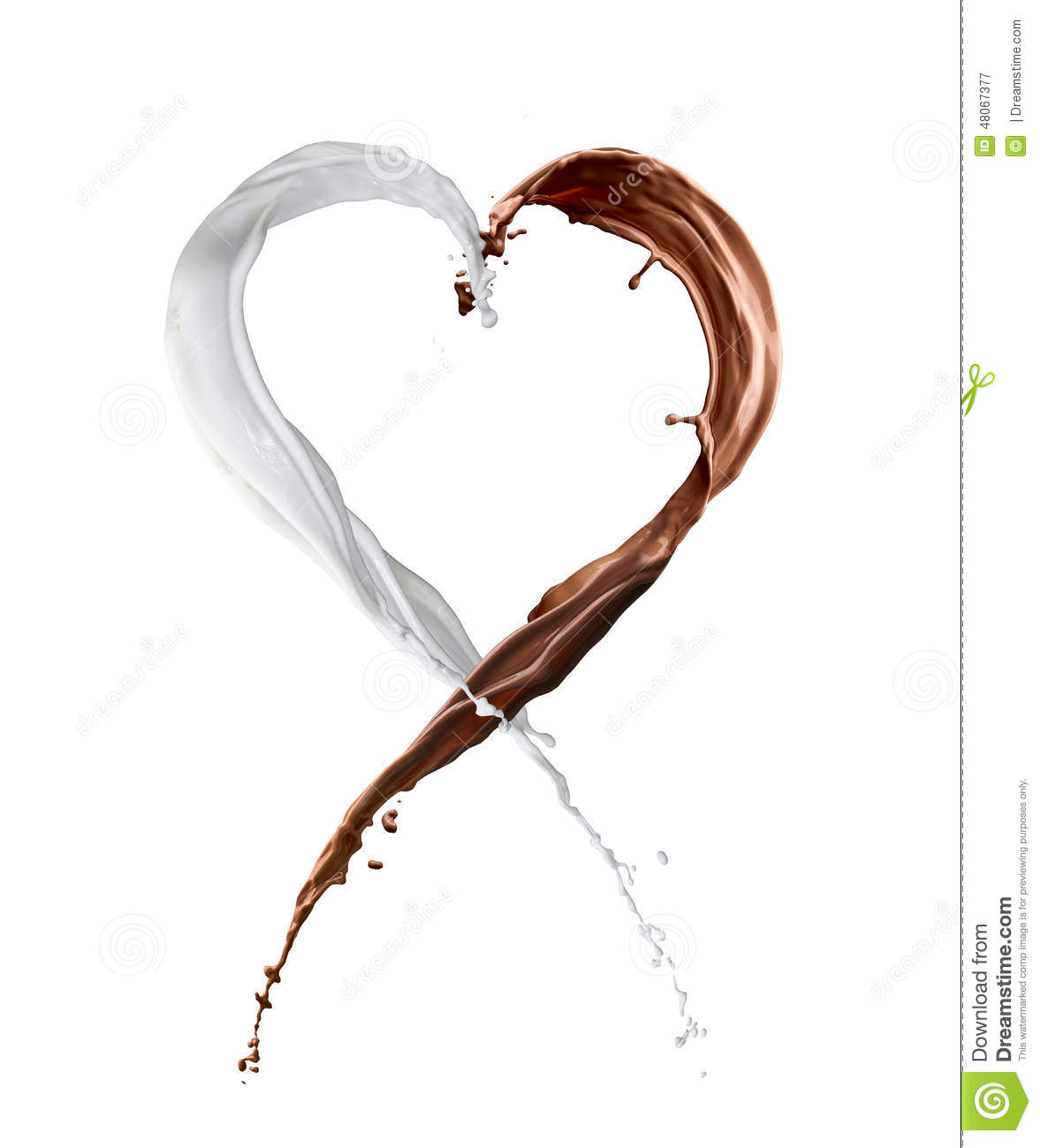 Chocolate And Milk Splash Heart Stock Image