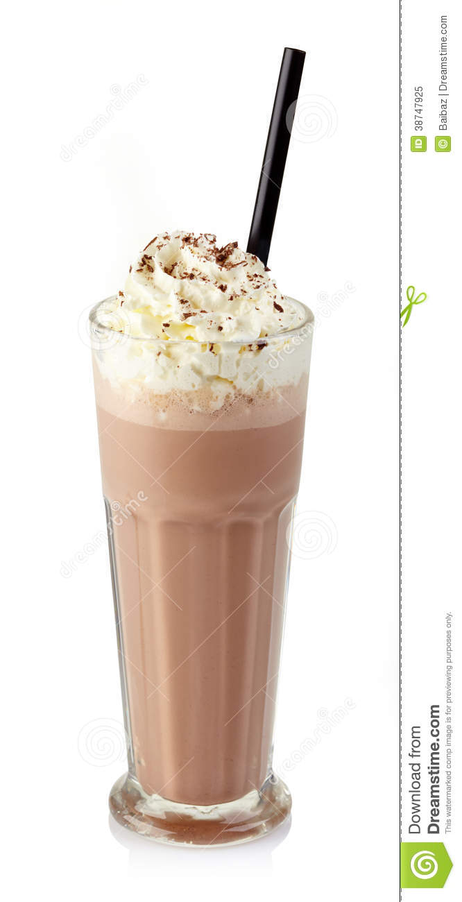 Glass of chocolate milkshake with whipped cream isolated on white ...