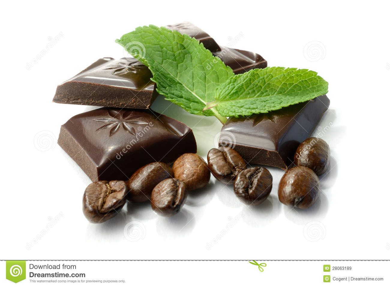 Dark Chocolate Decorated With Coffee Beans And Mint Stock Photo ...