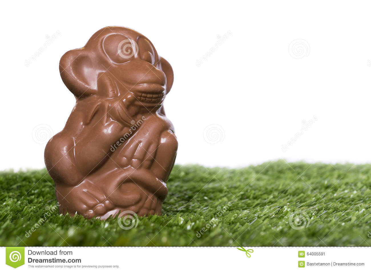 Chocolate Monkey On The Grass Stock Illustration - Image: 64005591