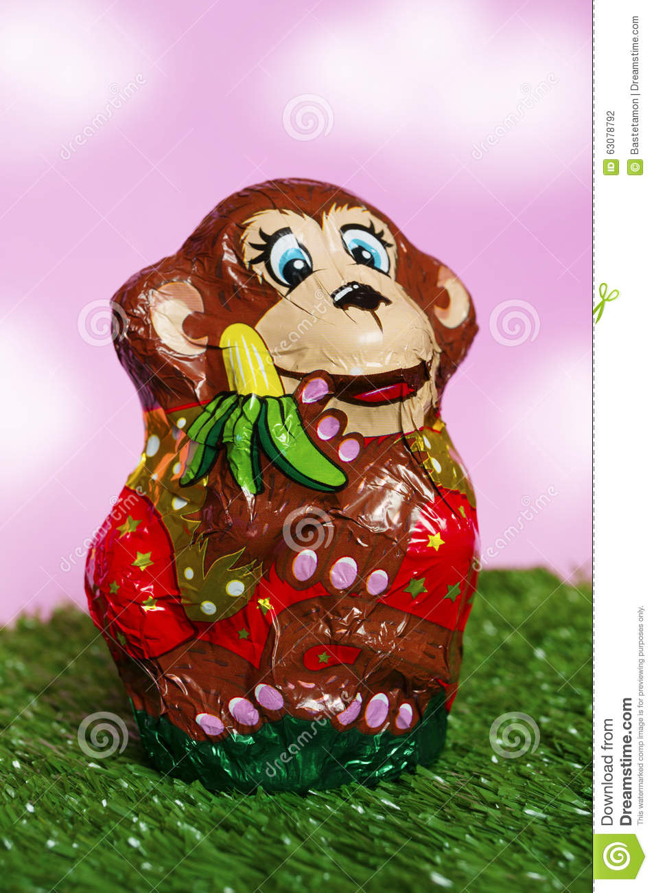 Chocolate Monkey In A Wrapper Stock Illustration - Image: 63078792