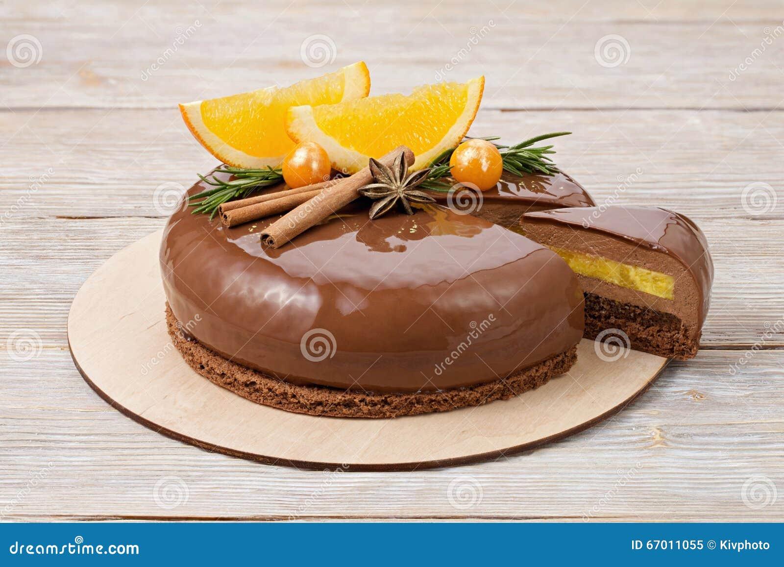 Mirror Glaze Chocolate Cake Orange