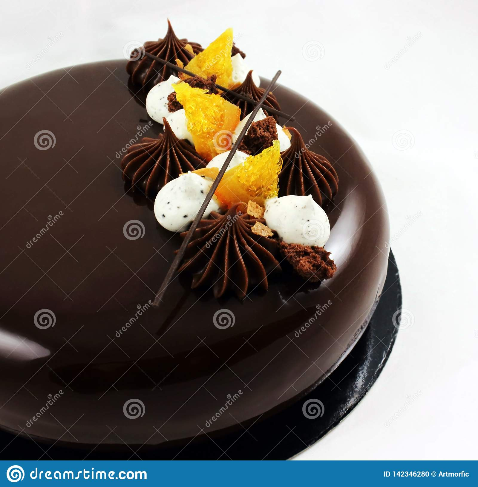 Chocolate And Orange Cake With Mirror Glaze And Whipped