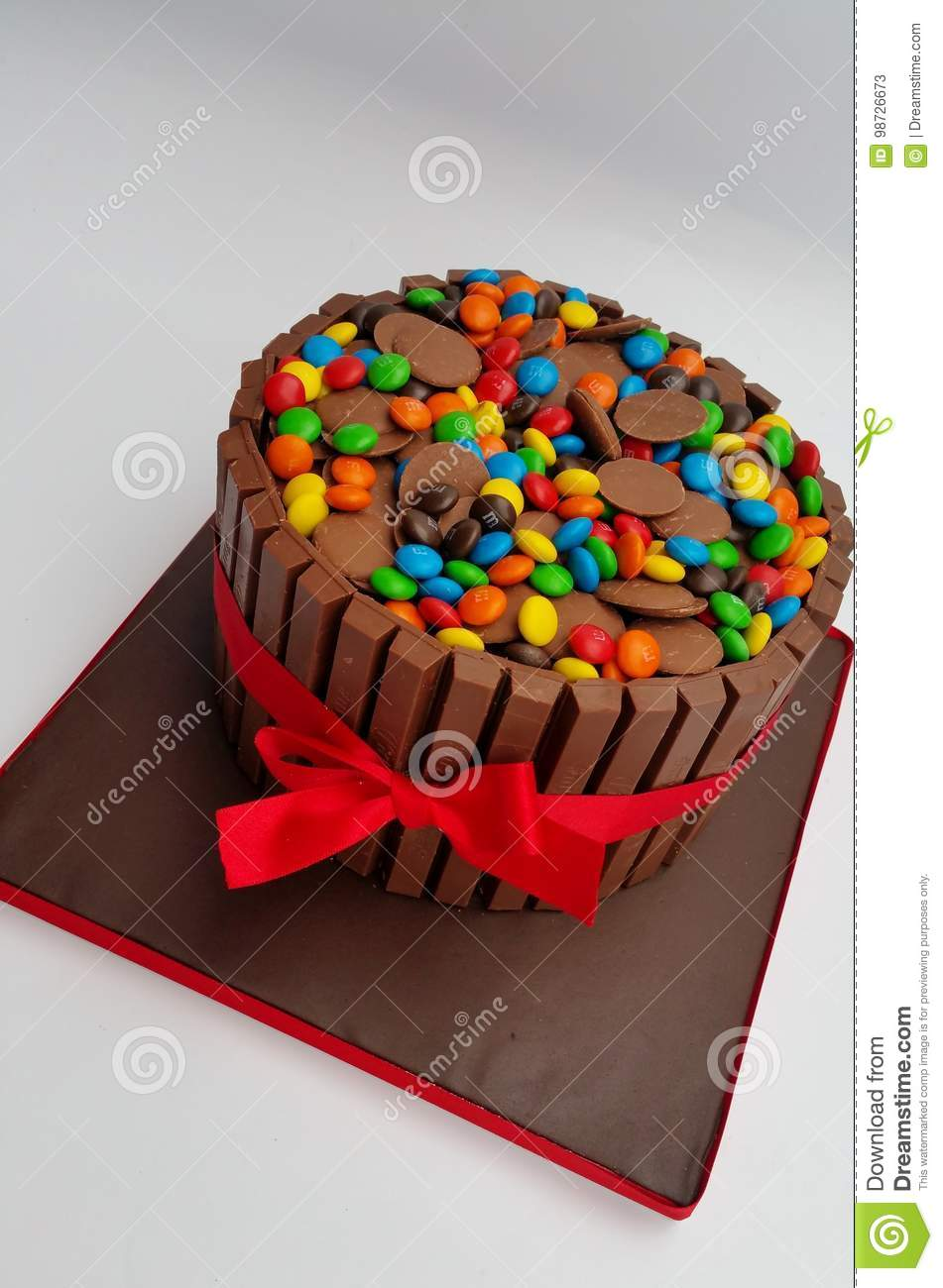 Excellent Chocolate Overload Cake With Smarties Mm S And Chocolate Buttons Personalised Birthday Cards Veneteletsinfo