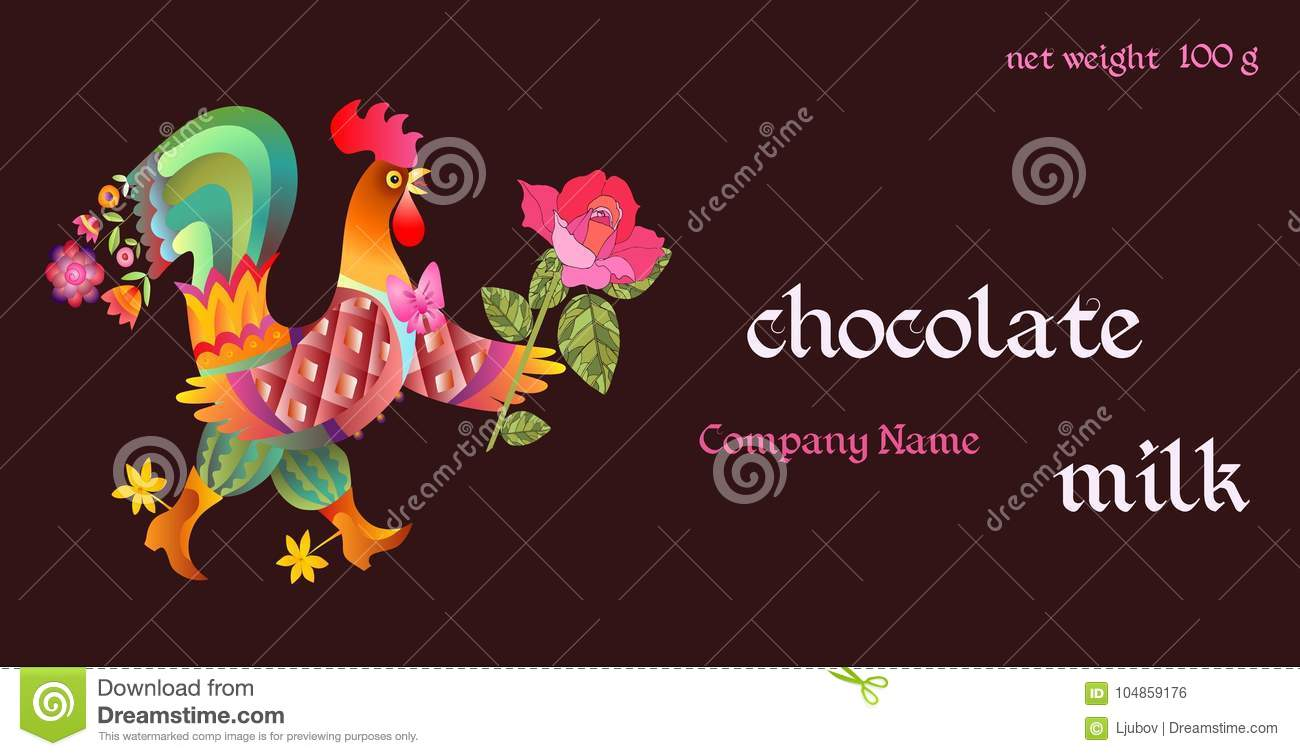 Chocolate Packaging Design Vector Template With Beautiful Cockerel
