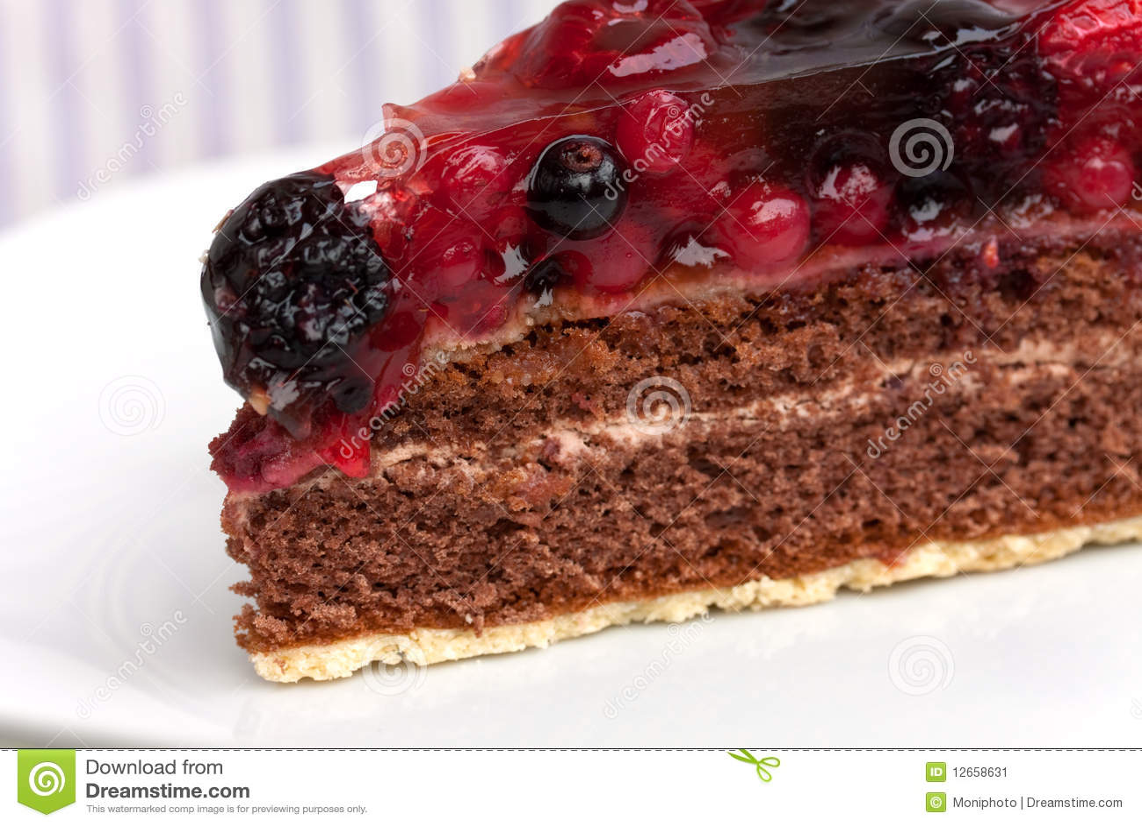 Chocolate Pie(Tart) With Cream,cherry,raspberry, A Stock Image - Image ...