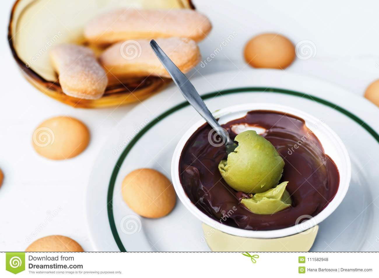 Chocolate And Pistachio Cream And Biscuits Stock Photo Image Of