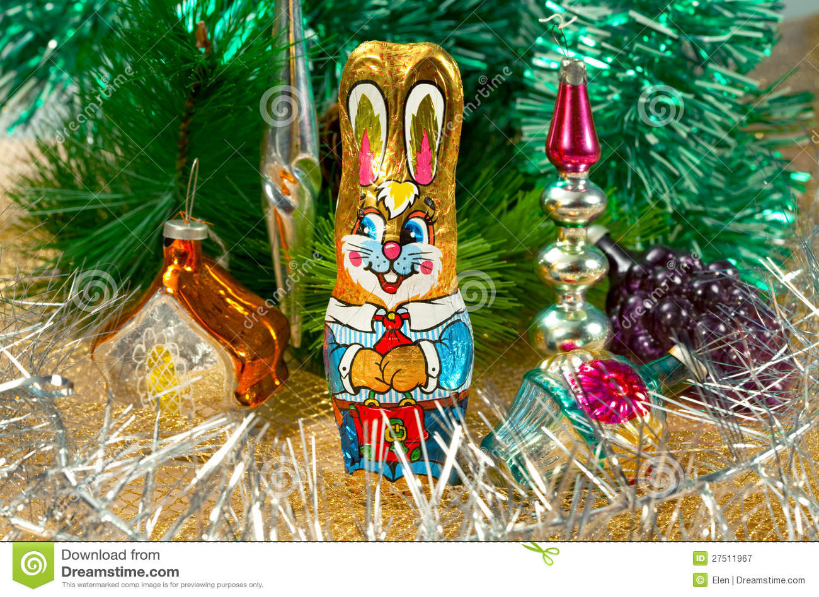 Chocolate rabbit and christmas decorations stock image for Chocolate christmas decorations