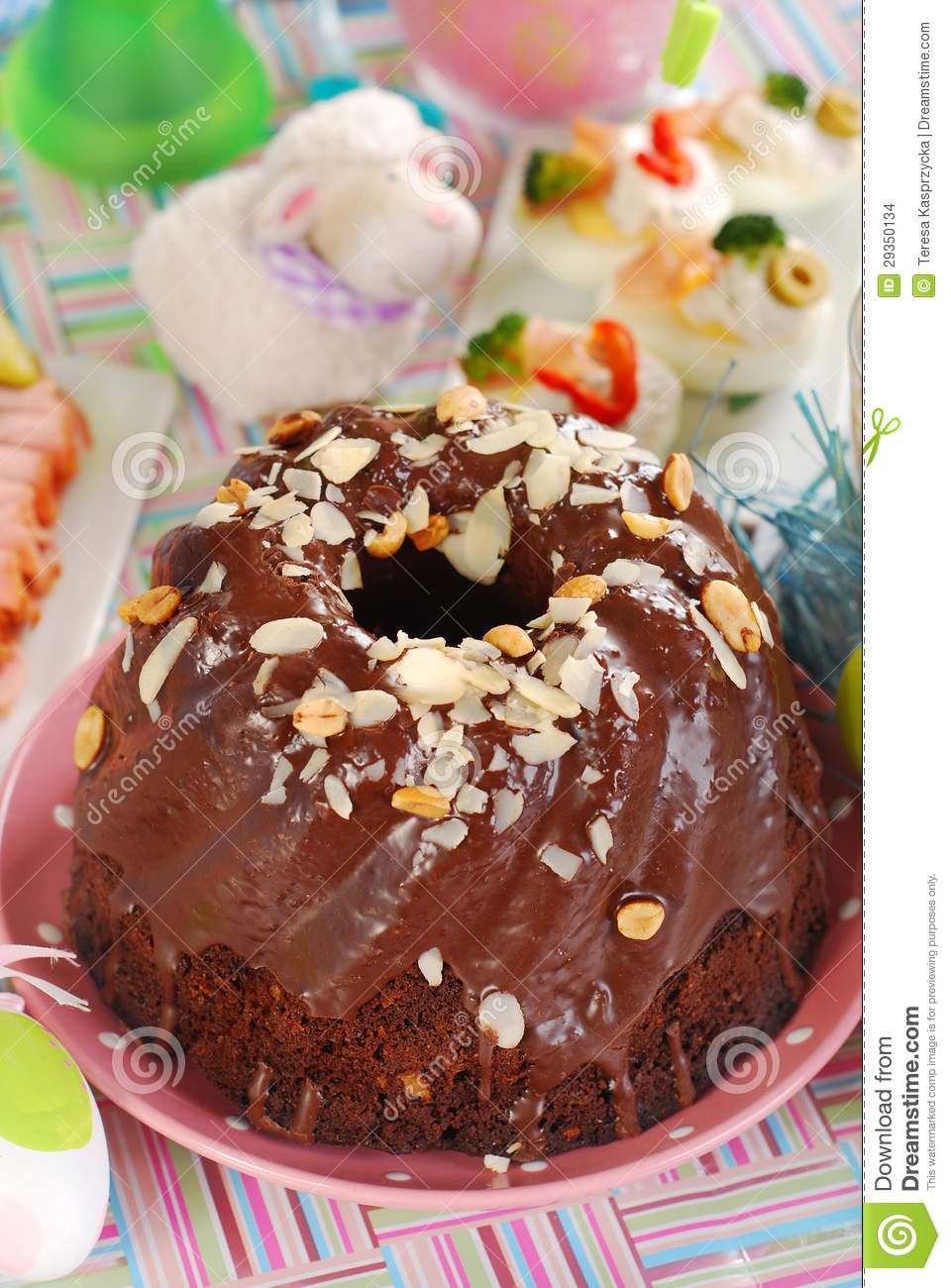 Chocolate Ring Cake With Almonds And Nuts For Easter Stock Images ...
