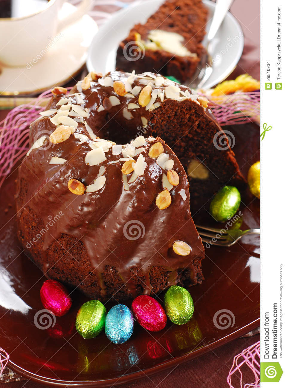 Chocolate Ring Cake With Almonds And Nuts Topping For Easter Stock ...