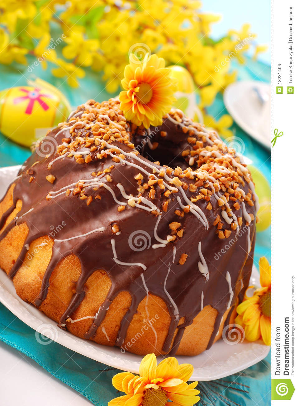 Chocolate Ring Cake For Easter Royalty Free Stock Image - Image ...