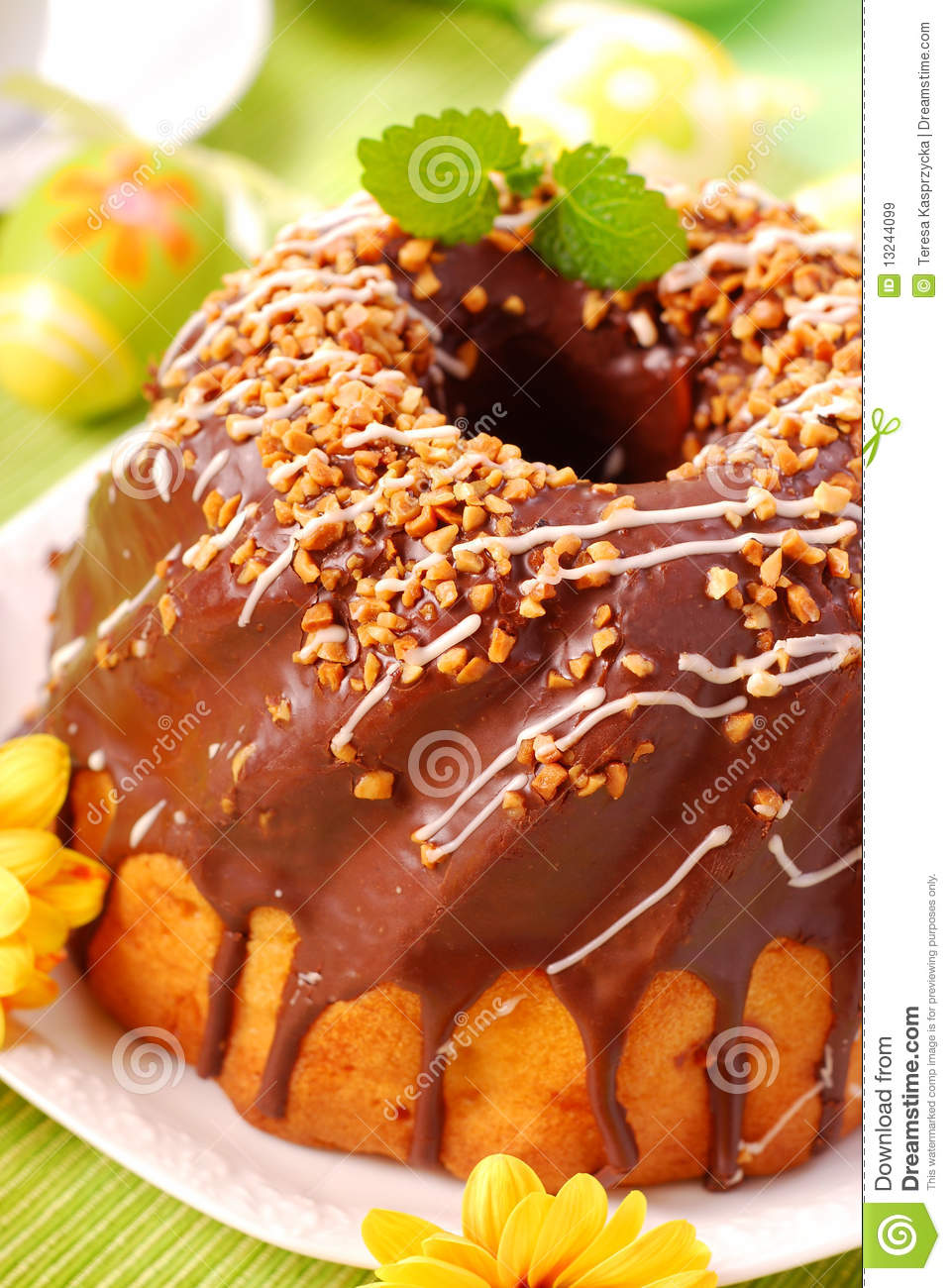 Chocolate Ring Cake For Easter Royalty Free Stock Images - Image ...