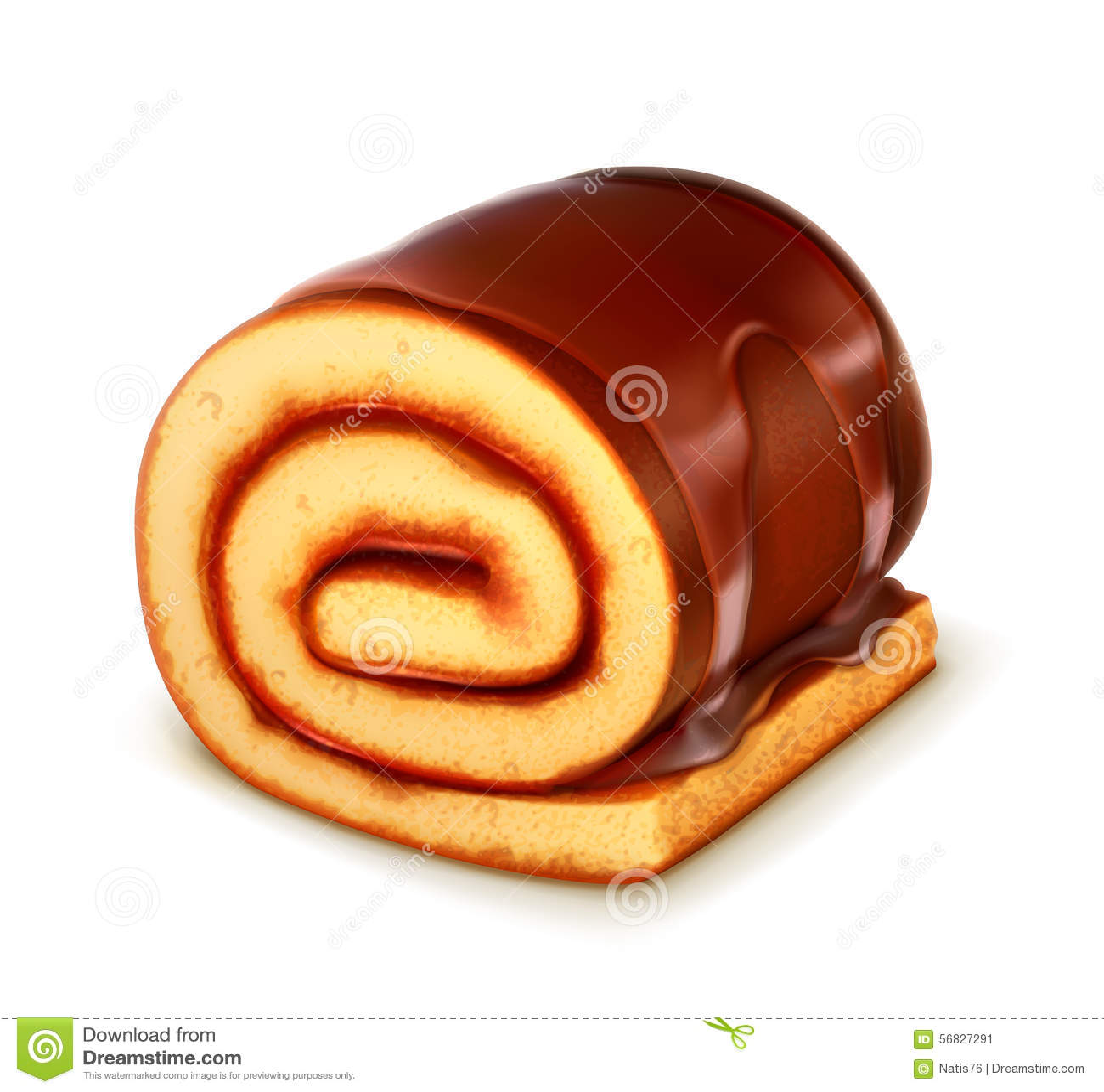 Chocolate Roll Cake Stock Vector - Image: 56827291