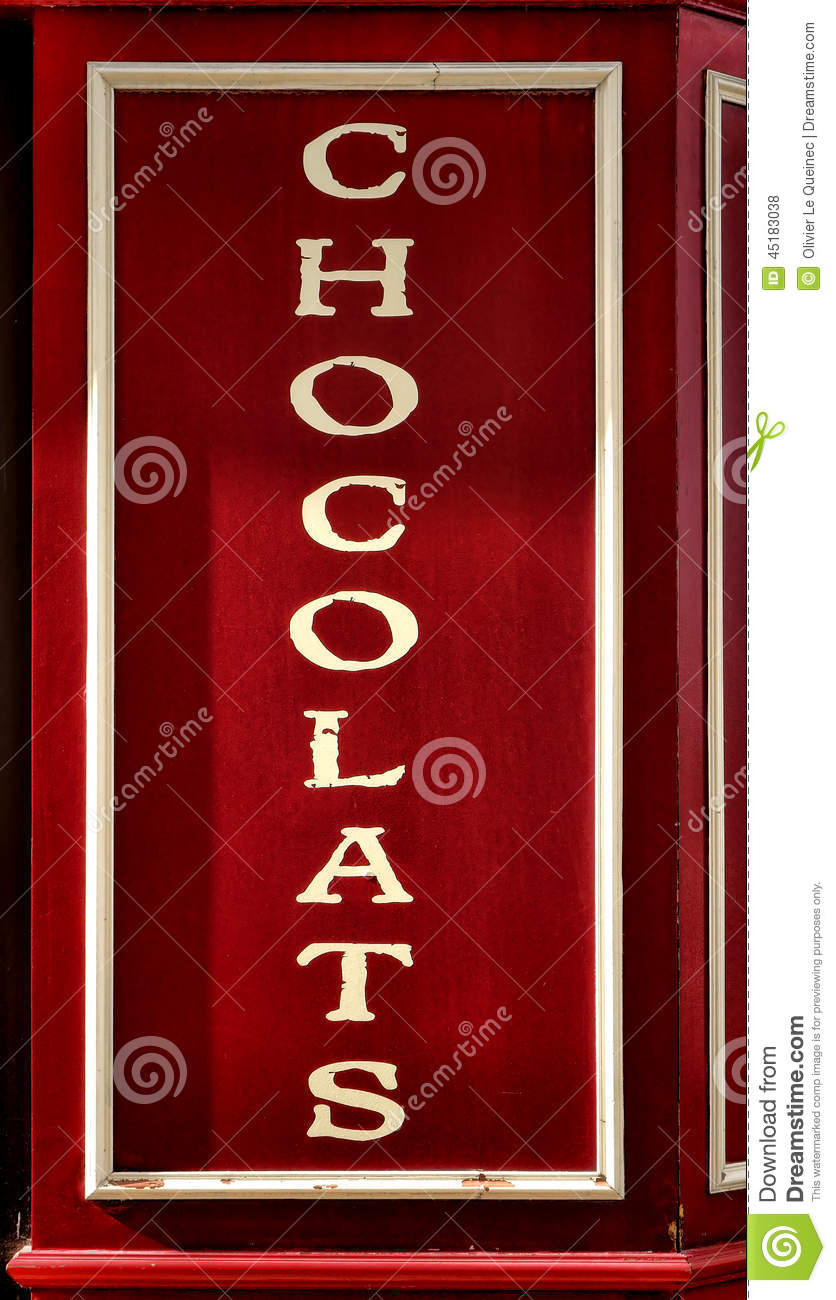 Chocolate Sign On French Store Storefront Display Stock