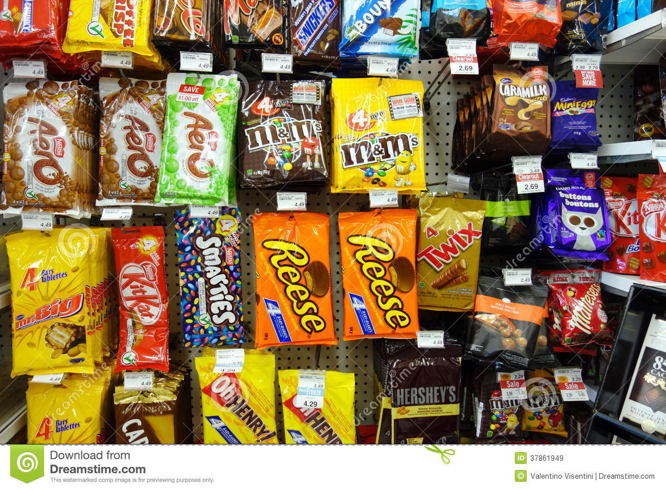 Chocolate snacks selection on September 14, 2013 in Toronto. Hershey ...