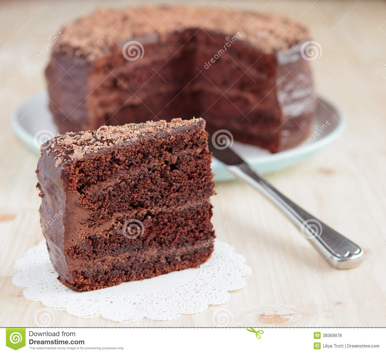 Chocolate Sponge Cake With Buttercream Frosting Stock Images ...