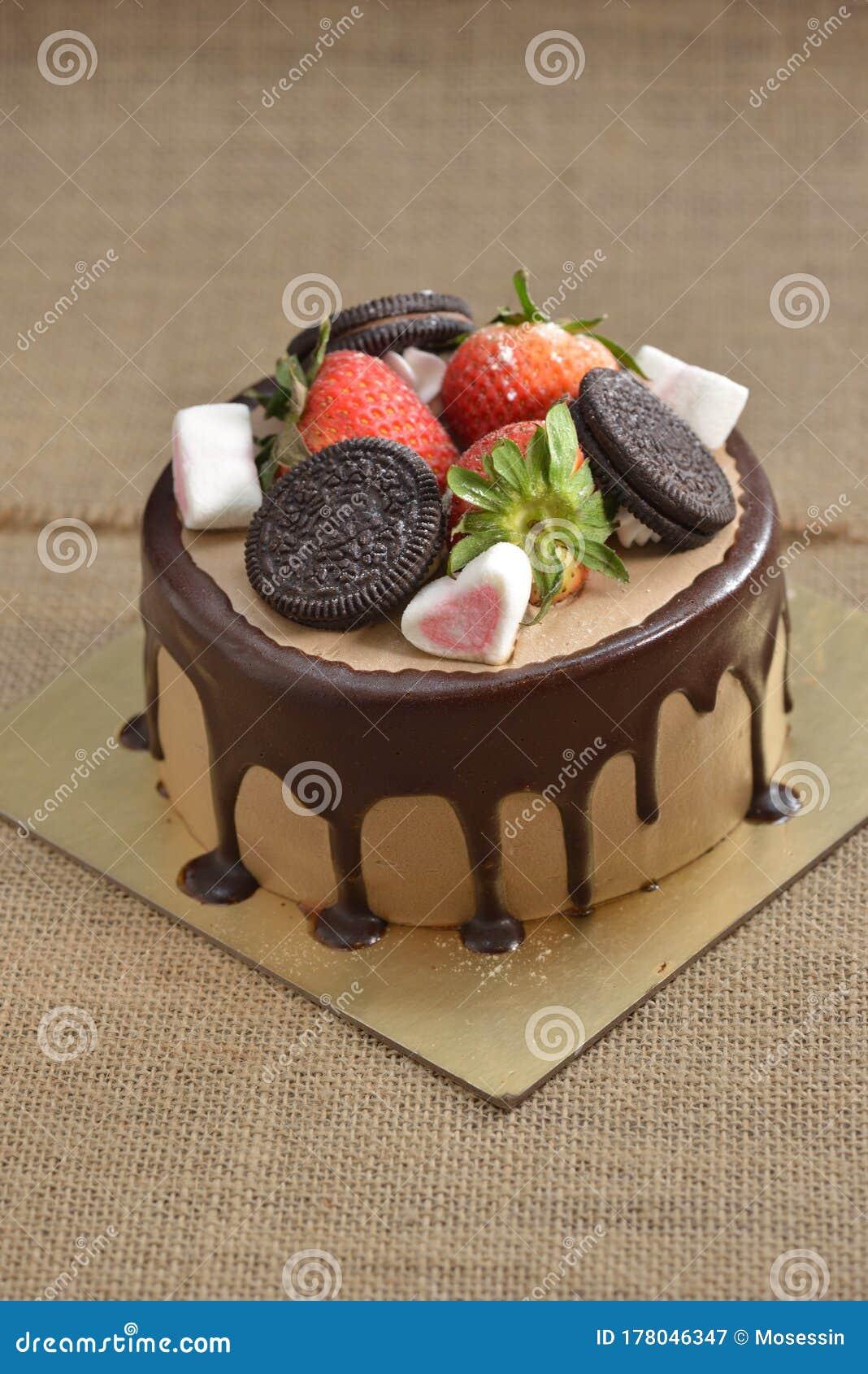 Stupendous Chocolate Strawberry Birthday Cake Strawberry Stock Image Image Funny Birthday Cards Online Overcheapnameinfo
