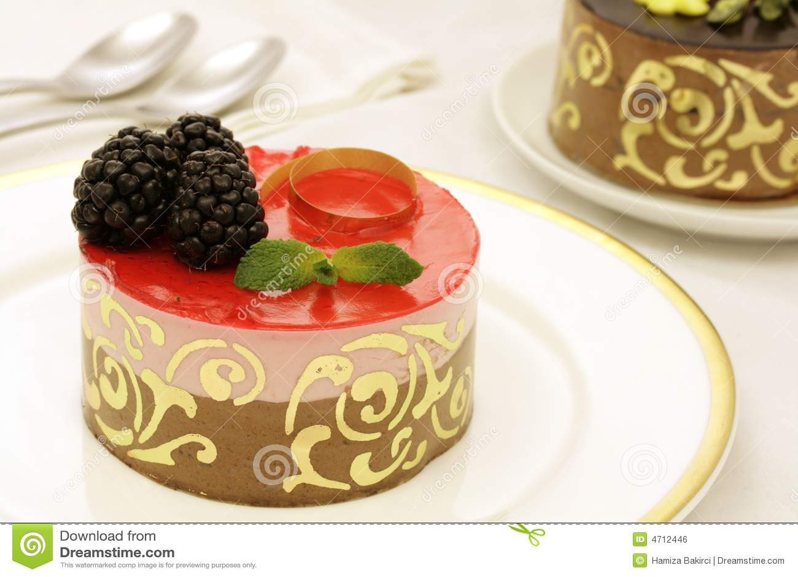 Chocolate Strawberry Jello Cake Recipe: Chocolate And Strawberry Mousse Cake Royalty Free Stock