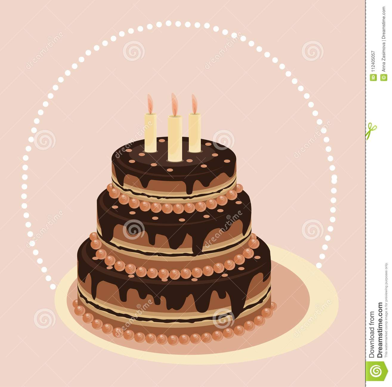 Chocolate Tiered Cake Cake With Candles Vector Card Festive Cakes